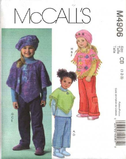 McCall's Sewing Pattern 4906 Girls Size 1-2-3 Ponchos Pull On Cropped Long Pants Hat Beret