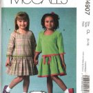 McCall's Sewing Pattern 4907 Girls Size 2-5 Dropped Gathered Waist Longer Sleeve Dress