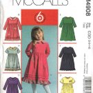McCall's Sewing Pattern 4908 Girls Size 6-8 Easy Short Long Sleeve Gathered Waist Dress