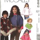 McCall's Sewing Pattern 4912 Girls Size 3-6 Hello Kitty Capelets Hooded Turtleneck Ponchos