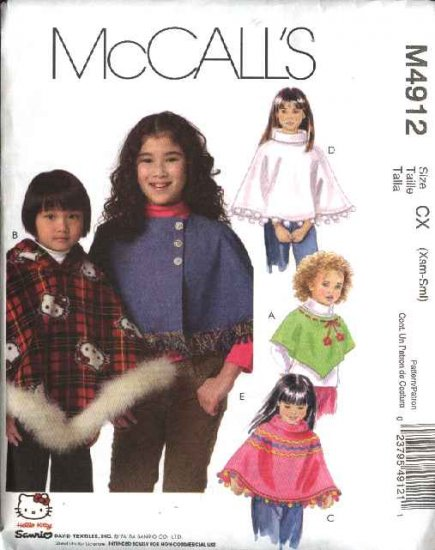 McCall's Sewing Pattern 4912 Girls Size 7-12 Hello Kitty Capelets Hooded Turtleneck Ponchos
