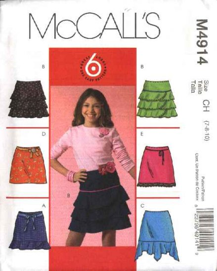 McCall's Sewing Pattern 4914 Girls Size 7-10 Easy A-Line Pull On Tiered Flounced Skirts
