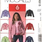 McCall's Sewing Pattern 4915 Girls Size 7-10 Easy Unlined Long Sleeve Button Front Jacket
