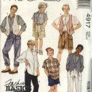 McCall's Sewing Pattern 4917 Boys Size 7 Basic Wardrobe Vest Button Front Shirt Long Pants Shorts