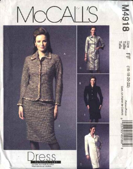 McCall's Sewing Pattern 4918 Misses Size 16-22 Button Front Jacket Dress Straight Skirt Suit