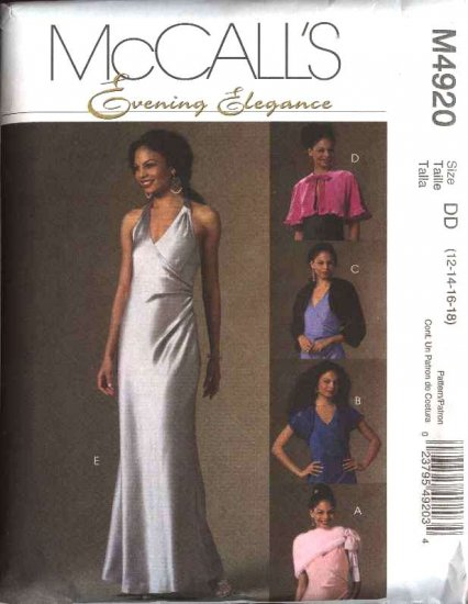 McCall's Sewing Pattern 4920 Misses Size 8-14 Evening Gown Prom Formal Dress Shrug Wrap Cape