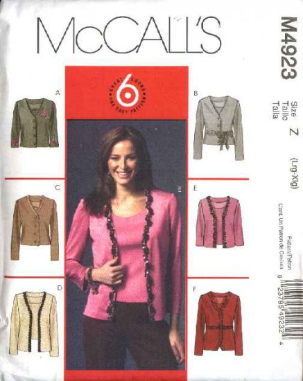 McCall's Sewing Pattern 4923 Misses Size 16-22 Easy Knit Cardigan Tank Top Shell Twin-Set