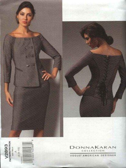 Vogue Sewing Pattern 2893 Misses Size 12-14-16 Skirt Top Suit Donna Karan