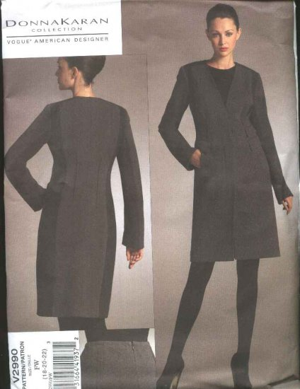 Vogue Sewing Pattern 2990 Misses 12-14-16 Donna Karan Lined Knee Length Knit Jacket Tapered Skirt