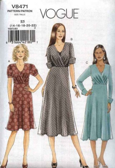 Vogue Sewing Pattern 8471 Misses Size 6-12 Easy Front Wrapped Bodice A-Line Knit Dress
