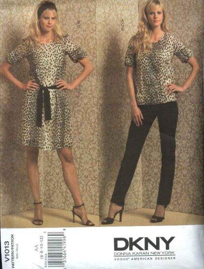 Vogue Sewing Pattern 1013 Misses Size 6-12 DKNY Wardrobe Dress Top Belt Camisole Slip Pants