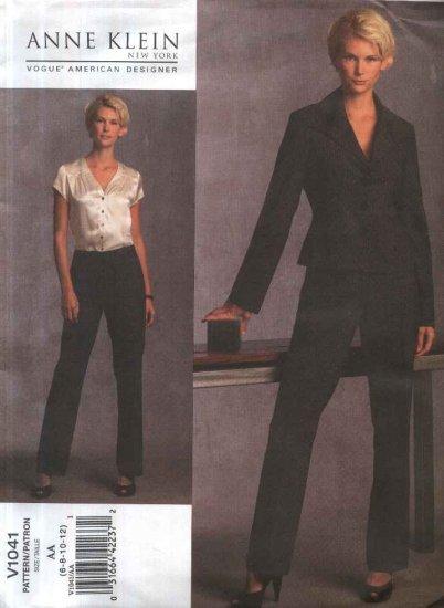 Vogue Sewing Pattern 1041 Misses Size 6-12 Anne Klein Lined Button Front Jacket Pants Pantsuit