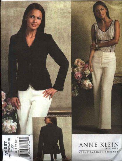 Vogue Sewing Pattern 2957 Misses Size 14-20 Anne Klein Lined Long Sleeve Jacket Pants Pantsuit