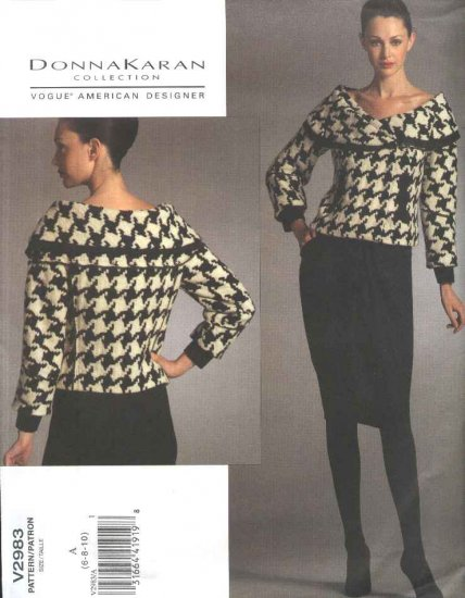 Vogue Sewing Pattern 2983 Misses Size 6-10 Donna Karan Lined Double Breasted Jacket Skirt Suit
