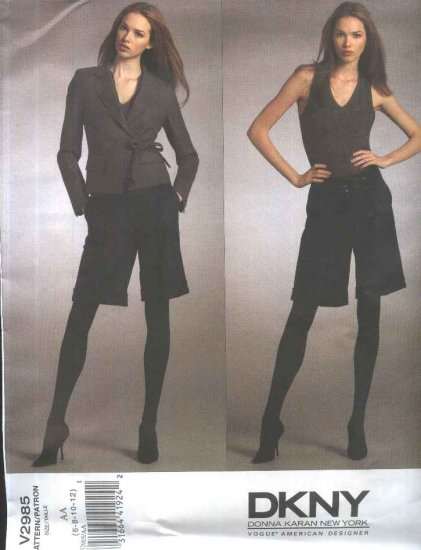 Vogue Sewing Pattern 2985 Misses Size 14-20 DKNY Fitted Lined Long Sleeve Wrapped Jacket City Shorts