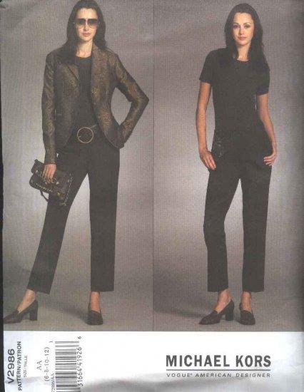 Vogue Sewing Pattern 2986 V2986 Misses Size 6-12 Michael Kors Long Sleeve Jacket Pants
