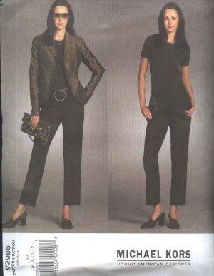 Vogue Sewing Pattern 2986 Misses Size 6-12 Michael Kors Button Front Long Sleeve Jacket Pants