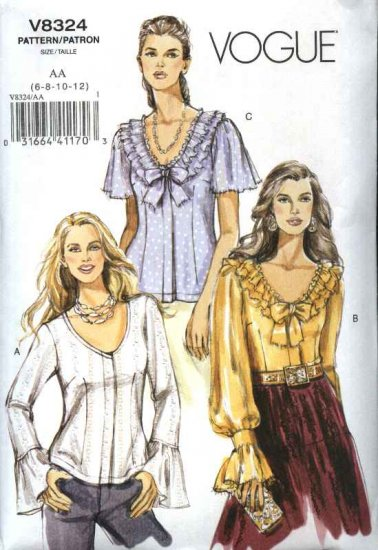 Vogue Sewing Pattern 8324 Misses Size 14-20 Easy Snap Front Short Long Sleeve Blouses