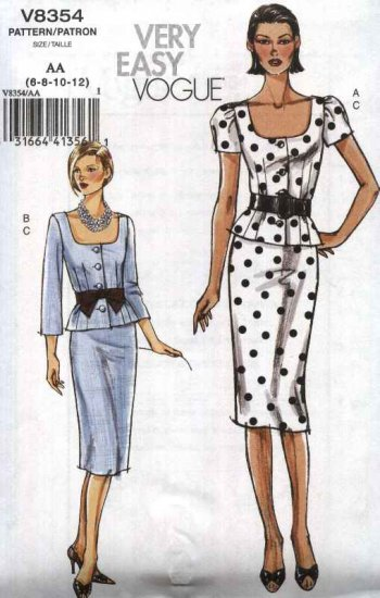 Vogue Sewing Pattern 8354 Misses Size 6-12 Easy Button Front Top Jacket Straight Skirt