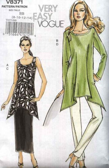 Vogue Sewing Pattern 8371 Misses Size 16-22 Easy Sleeveless Long Sleeve Tunic Straight Skirt Pants
