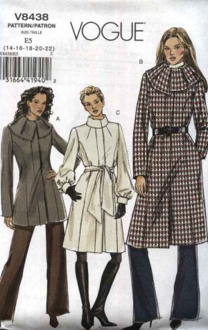 Vogue Sewing Pattern 8438 Misses Size 14-22 Easy Long Short Lined Winter Fall Princess Seam Coat