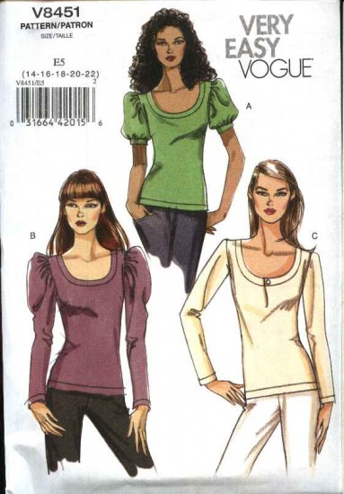 Vogue Sewing Pattern 8451 Misses Size 14-22 Easy Pullover Knit Short Long Sleeve Top