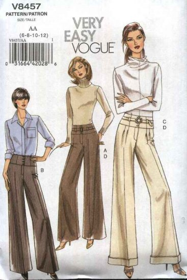 Vogue Sewing Pattern 8457 Misses Size 6-12 Easy Yoked Wide Legged Long Pants Slacks Trousers