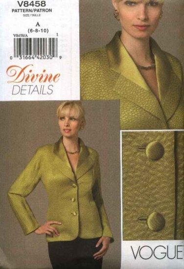 Vogue Sewing Pattern 8458 Misses Size 6-10 Divine Details Button Front Long Sleeve Lined Jacket