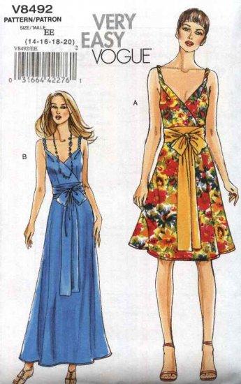 Vogue Sewing Pattern 8492 Misses Size 14-20 Easy Lined Sundress Sleeveless Long Short Dress Sash