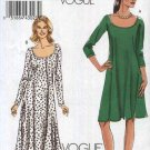 Vogue Sewing Pattern 8592 Misses Size 8-16 Easy Pullover Flared Raglan Sleeved Long Short Dress