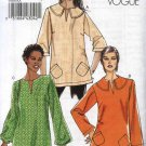Vogue Sewing Pattern 8595 Misses Size 6-12 Easy Pullover Top Tunic Neckline Sleeve Variations