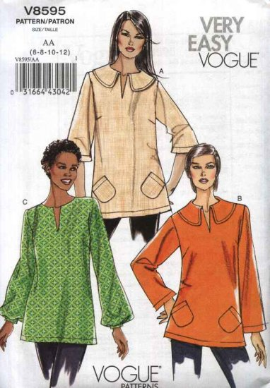 Vogue Sewing Pattern 8595 Misses Size 14-22 Easy Pullover Top Tunic Neckline Sleeve Variations