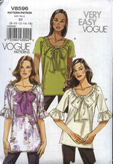 Vogue Sewing Pattern 8596 Misses Size 8-16 Easy Pullover Baby Doll Top Tunic Blouse