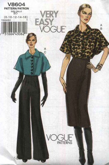 Vogue Sewing Pattern 8604 Misses Size 8-16 Easy Cropped Short Sleeve Jacket Straight Skirt Pants