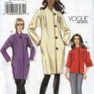 Vogue Sewing Pattern 8607 Misses Size 16-24 Easy Lined button Front Long Sleeve Coat Jacket