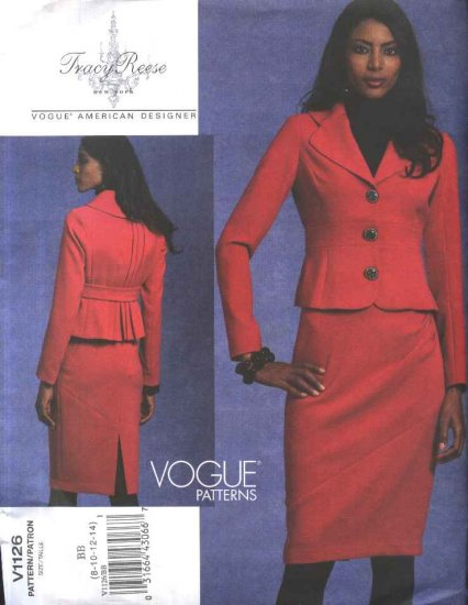Vogue Sewing Pattern 1126 Misses Size 8-14 Tracy Reese Button Front Jacket Seamed Skirt Suit