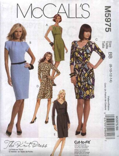 McCall�s Sewing Pattern 5975 Misses Size 16-24 Straight Knit Dresses Sleeve Neckline Variations
