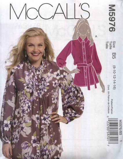 McCall�s Sewing Pattern 5976 Misses Size 8-16 Button Front Long Sleeve Tunic Blouse Top