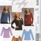 McCall's Sewing Pattern 5979 Misses Size 4-14 Embellished Long Sleeve Scoop Neck Knit T-Shirt Top