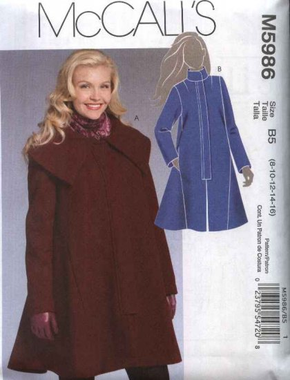 McCall�s Sewing Pattern 5986 Misses Size 8-16 Lined Winter Fall Coat Front Zipper Closure