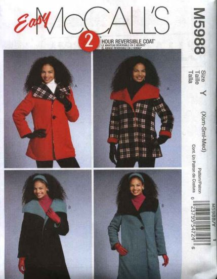 McCall�s Sewing Pattern 5988 Misses Size 16-22 Easy 2-Hour Reversible Button Front Long Short Coat