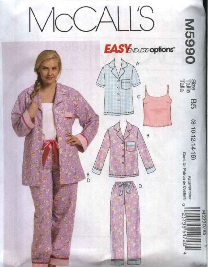 McCall�s Sewing Pattern 5990 Misses Size 8-16 Easy Pajamas Button Front Shirt Pants Camisole Top