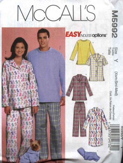 """McCall�s Sewing Pattern 5992 Misses Mens Chest Size 38-44"""" Easy Pajamas Nightshirt Dog Jacket"""