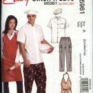 "McCall's Sewing Pattern 5961 Misses Men's Chest Sizes 46-56"" Easy Chef's Uniform Shirt Pants Apron"