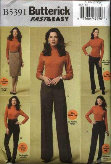 Butterick Sewing Pattern 5391 Misses Size 16-24 Easy Classic Straight Skirt Pants Trousers Slacks