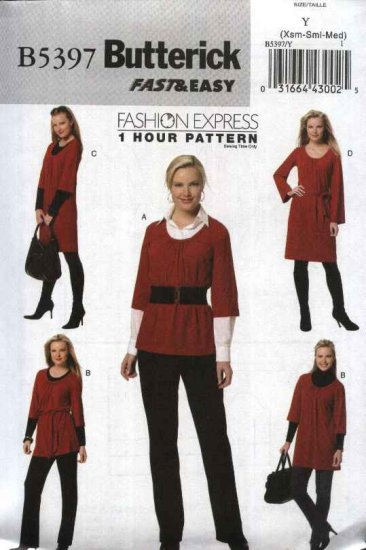 Butterick Sewing Pattern 5397 Misses Size 4-14 Easy 1 Hour Baby Doll Top Tunic Dress Belt