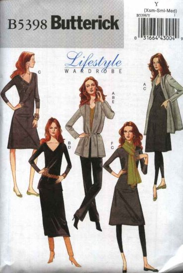 Butterick Sewing Pattern 5398 Misses Size 4-14 Easy Wardrobe Jacket Top Dress Skirt Pants Scarf