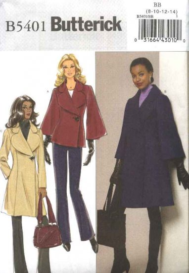Butterick Sewing Pattern 5401 Misses Sizes 8-14 Easy button Front Lined Princess Seam Coat Jacket