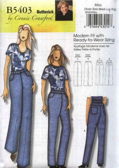 Butterick Sewing Pattern 5403 Misses Size 3-16 Connie Crawford Classic Long Blue Denim Jeans Pants