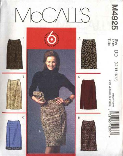 McCall's Sewing Pattern 4925 Misses Size 4-10 Easy Fitted Straight Skirts
